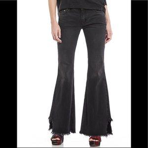 Free People Black Vintage Raw Hem Flare Jeans 26
